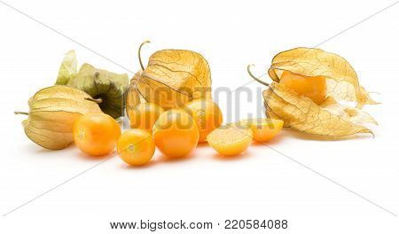 Physalis berries stack isolated on white background many in husk a lot of orange berries one sliced