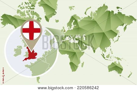 Infographic for England, detailed map of England with flag. Vector Info graphic green map.