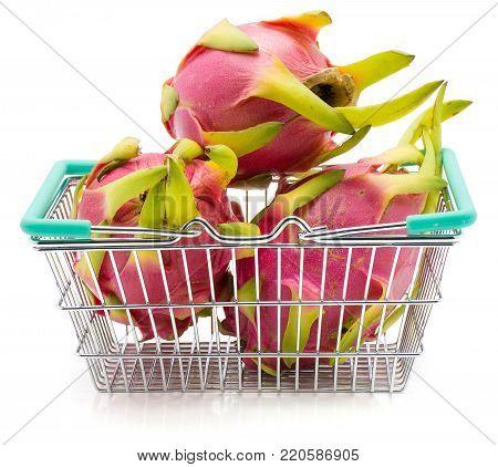 Fresh dragon fruit (Pitaya, Pitahaya) in a shopping basket isolated on white background