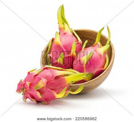Dragon fruit (Pitaya, Pitahaya) in wooden bowl isolated on white background fresh