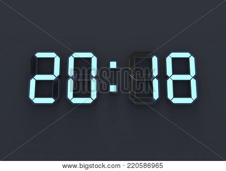 Electronic digital numbers 2018, happy new year background. 3D illustration