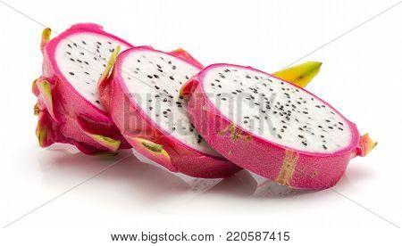Three dragon fruit slices (Pitaya, Pitahaya) isolated on white background