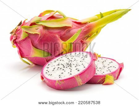 Sliced dragon fruit (Pitaya, Pitahaya) isolated on white background one whole and two slices