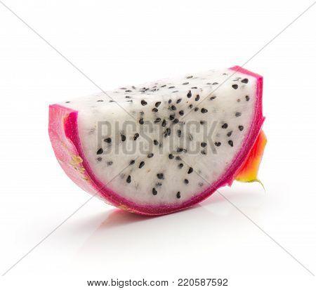 One dragon fruit (Pitaya, Pitahaya) halved slice isolated on white background one piece
