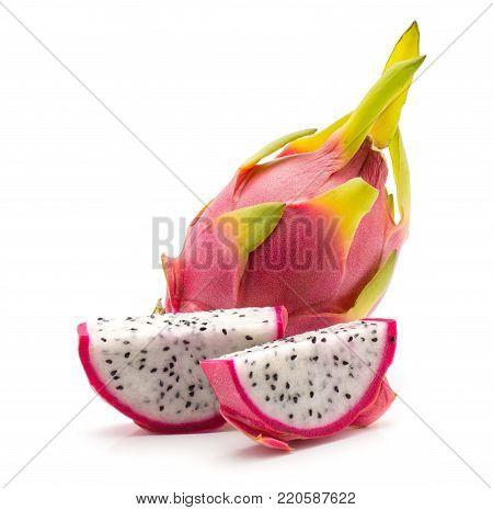 Dragon fruit (Pitaya, Pitahaya) isolated on white background one whole two sliced pieces