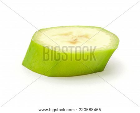 One plantain slice isolated on white background poster