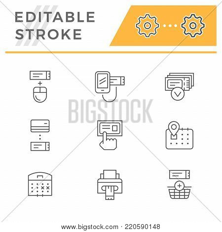 Set line icons of booking tickets isolated on white. Editable stroke. Vector illustration