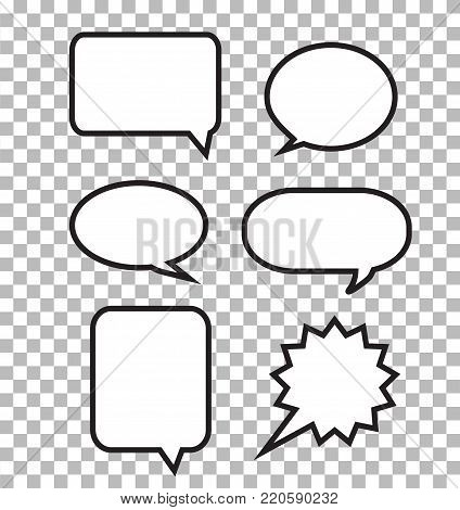 speech bubbles on transparent background. speech bubbles sign. set of comic speech bubbles.