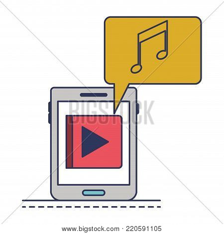 tablet device music app and dialogue box in colorful silhouette vector illustration