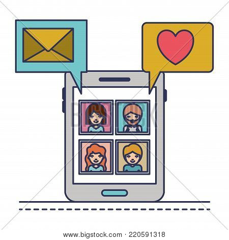 people picture profiles social network in smartphone screen with dialogues mail and heart in colorful silhouette vector illustration