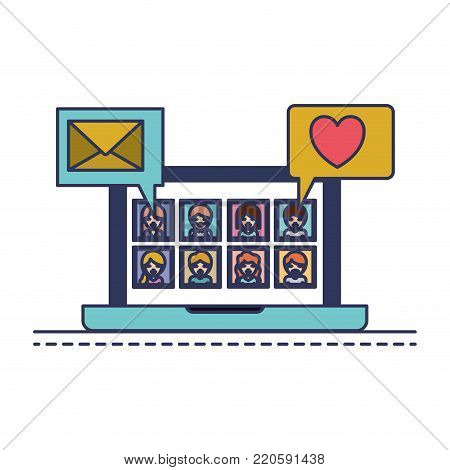 people picture profiles social network in laptop screen with dialogues mail and heart in colorful silhouette vector illustration