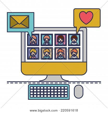 people picture profiles social network in desktop computer screen with dialogues mail and heart in colorful silhouette vector illustration