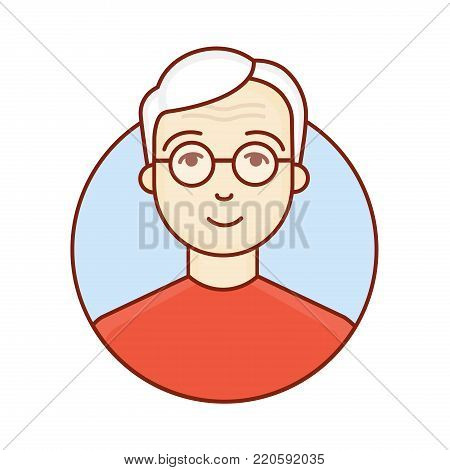The face of an old man. Portrait of a pensioner. Elderly. Avatar of the grandfather. Professor . Vector linear illustration