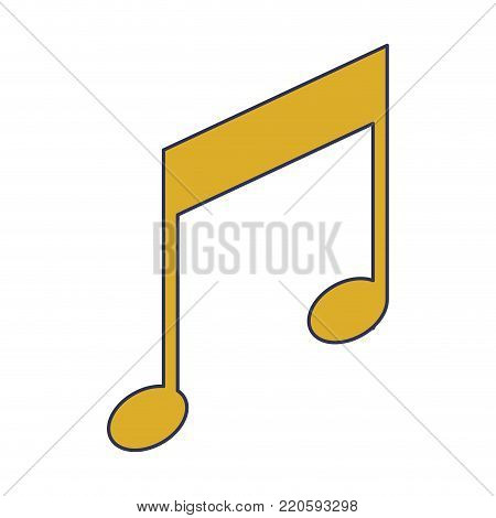 musical note icon in colorful silhouette vector illustration