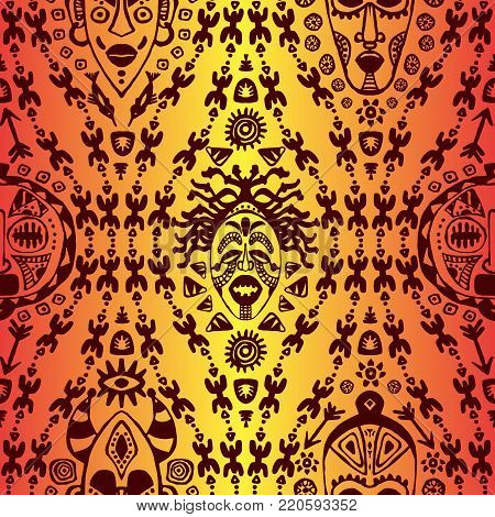 Hand drawn seamless pattern with Tribal mask ethnic. Sketch for your design, wallaper, textile, print. African culture. Fabric afro ornament. Vector l batik art. Black on gradient orange background