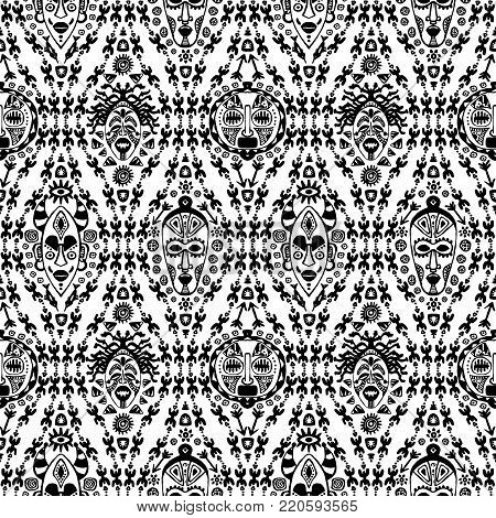 Hand drawn vector seamless pattern with Tribal mask ethnic. Sketch for your design, wallaper, textile, print. African culture. Fabric afro ornament. Coloful batik art. Black color on white background