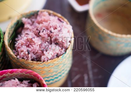 Cooked Sticky Rice-berry In Sticky Rice Box Handmade By Bamboo