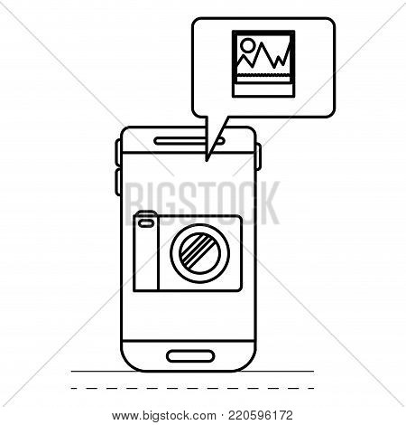 smartphone photo app and dialogue box in black silhouette vector illustration