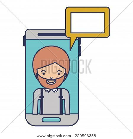 man social network smartphone screen dialogue in colorful silhouette vector illustration