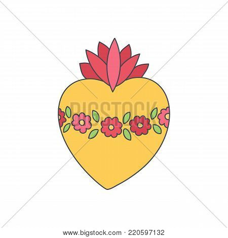 Sacred heart of Mary vector icon, Doodle illustration of hand drawn saint flaming heart isolated on the white background, Immaculate heart of Virgin Mary