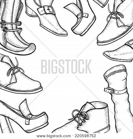 Hand drawn Background for the shoe store and signage, free space for text. Vector sketch in the old style of engraving. White and black. Sketch etch ink line.