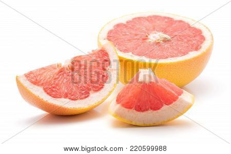 Sliced red grapefruit isolated on white background comparing one half cross section one slice and one piece