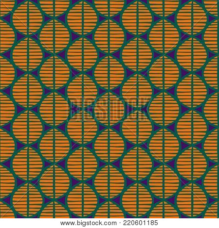 Primitive seamless floral pattern with leaves. Tribal ethnic background, simplistic geometry, vibrant tropical tones. Textile design.