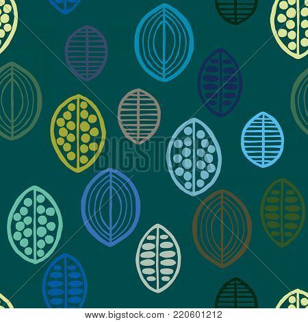 Seamless floral pattern with primitive leaves. Tribal ethnic background, blue and green tones. Textile design.