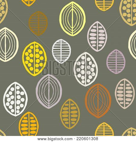 Seamless floral pattern with primitive leaves. Tribal ethnic background, yellow and gray tones. Textile design.