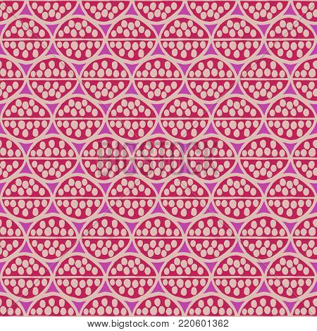Seamless  primitive floral pattern with abstract leaves. Tribal ethnic background, simplistic geometry, fuchsia and beige. Textile design.
