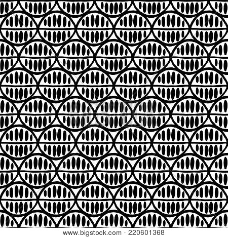 Seamless floral pattern with primitive leaves. Tribal ethnic background, simplistic geometry, black and white. Textile design.