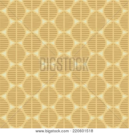 Primitive seamless floral pattern with leaves. Tribal ethnic background, simplistic geometry, golden tones. Textile design.