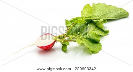 Sliced red radish, one half, fresh green leaves, isolated on white background