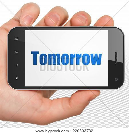Timeline concept: Hand Holding Smartphone with blue text Tomorrow on display, 3D rendering