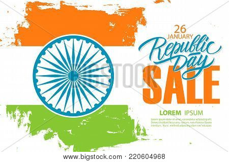 India Republic Day Sale banner. Special offer background with brush strokes in Indian national flag colors and hand drawn lettering text for business, commerce and advertising. Vector illustration.