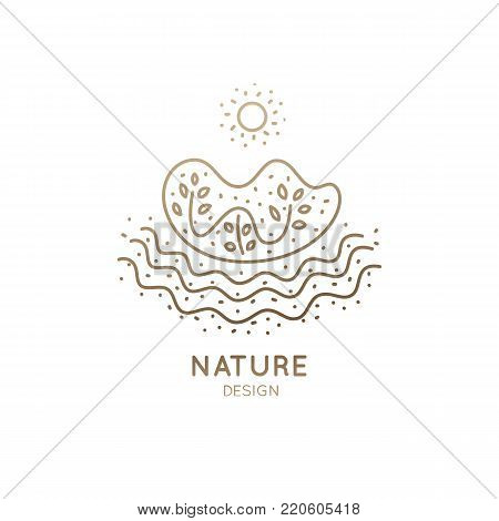 Vector logo of nature elements in linear style. Outline icon of landscape with trees, sun, water - business emblems, badge for a travel, farming and ecology concepts, health, spa and yoga Center.