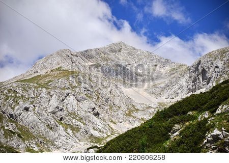 Kokrsko saddle with Grintovec mountain in the north part of Slovenia
