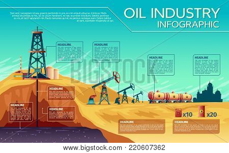 Vector oil industry business presentation infographics. Oil extraction, transportation of petroleum gasoline diesel, distribution. Illustration with oil derrick pump rig, rail transported fuel tanks