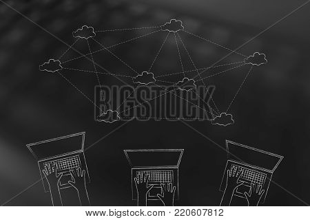 online communication and connections conceptual illustration: team of laptop users with cloud computing network above them