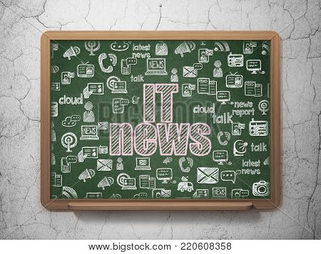 News concept: Chalk Pink text IT News on School board background with  Hand Drawn News Icons, 3D Rendering