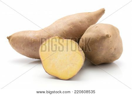 Sweet potato isolated on white background two whole one half