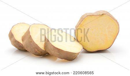 Sliced sweet potato circles isolated on white background four slices