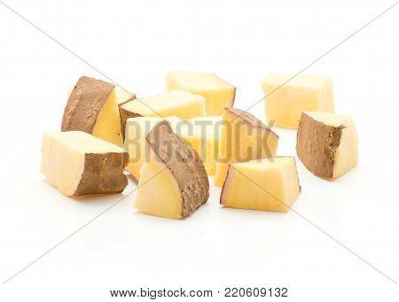 Chopped sweet potato pieces isolated on white background