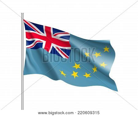 Waving flag of Tuvalu. Illustration of Oceania country flag on flagpole. Vector 3d icon isolated on white background