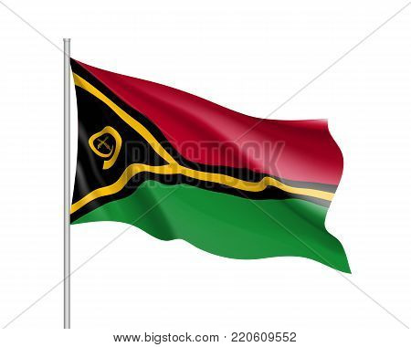 Waving flag of Vanuatu. Illustration of Oceania country flag on flagpole. Vector 3d icon isolated on white background