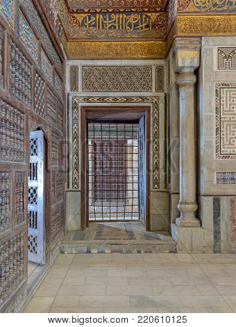 Cairo, Egypt - April 1, 2017: Interior view of decorated marble walls surrounding the cenotaph in the mausoleum of Sultan Qalawun, part of Sultan Qalawun Complex built in 1285 AD, located in Al Moez Street, Old Cairo, Egypt