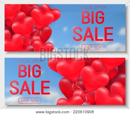 Valentine s day big sale offer, cute horizontal web banner template. Red 3d glossy heart balloon with text. Valentines Heart sale tags. Shop market poster design. Vector