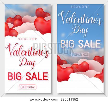 Valentine s day big sale offer, vertical web banner template. Red 3d glossy heart balloon with text. Valentines Heart sale tags. Shop market poster design. Vector