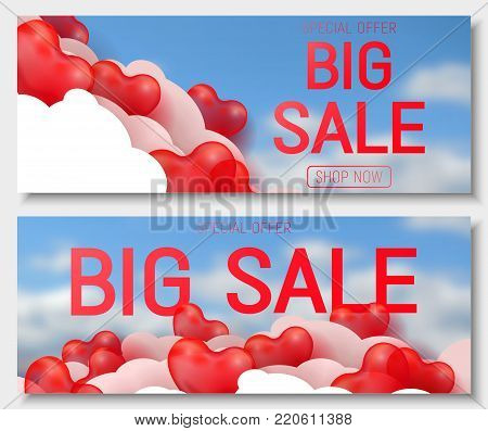 Valentine s day big sale offer, horizontal web banner template. Red 3d glossy heart balloon with text. Valentines Heart sale tags. Shop market poster design. Vector