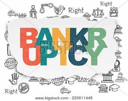 Law concept: Painted multicolor text Bankruptcy on Torn Paper background with  Hand Drawn Law Icons
